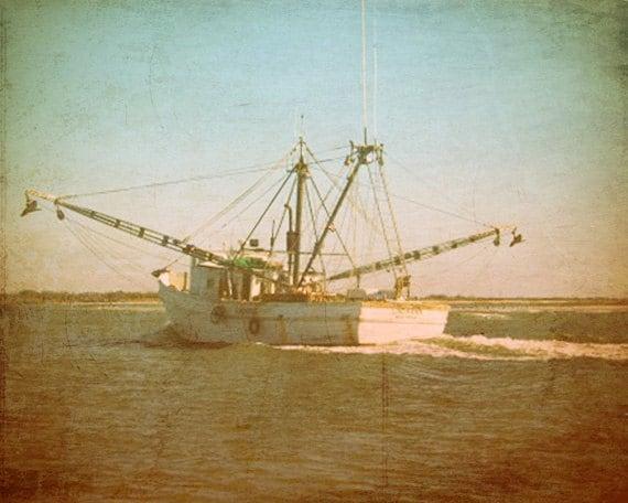 Vintage Shrimp Boat Art Print - White Green Blue Trawler  Home Decor Wall Art Photograph