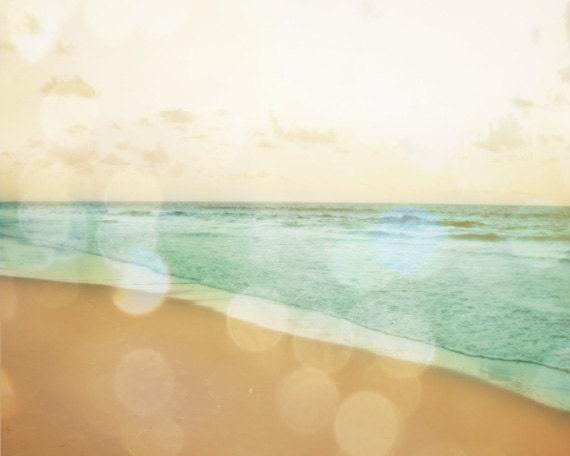 Beach Bokeh Print - Soft Pastel Aqua Yellow Summer Ocean Beach House Decor Photography
