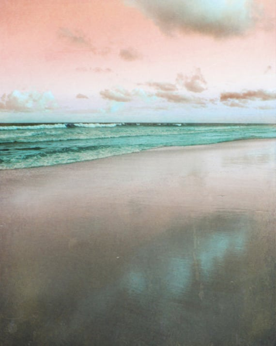 Beach Art Print - Pink Green Aqua Reflection Surreal Beach House Wall Art Home Decor  Pastel Photograph