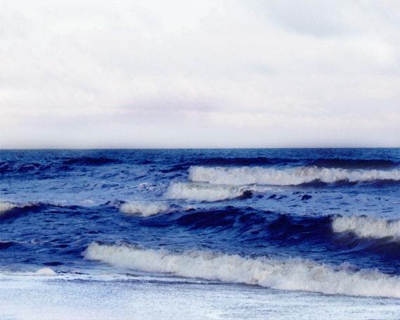 Beach Ocean Waves Art Print - Navy Blue White Beach House Home Decor Wall Art Nautical Nursery Photograph