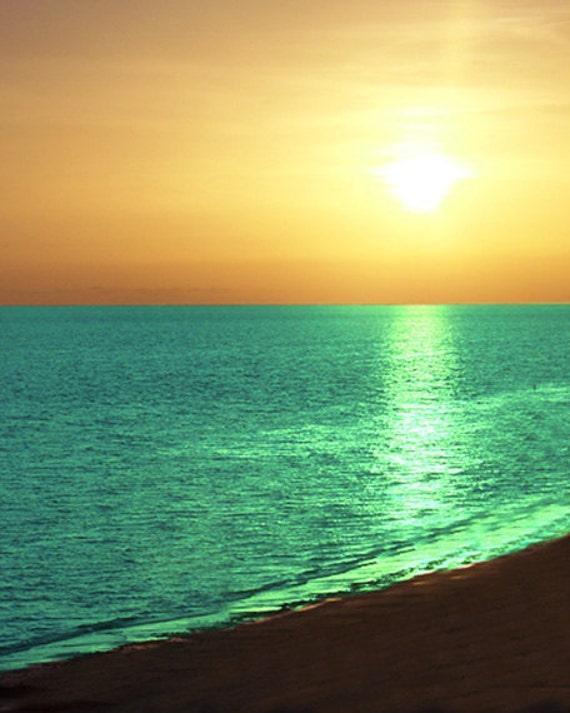 Beach Sunset Metallic Print - Orange Yellow Aqua Green Blue Ocean Art Beach House Wall Decor Photograph