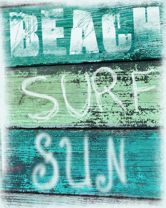 Vintage Beach Sign Art Print  - Beach Surf Sun Aqua Green Blue Beach House Decor Wall Art Girl Room Photograph