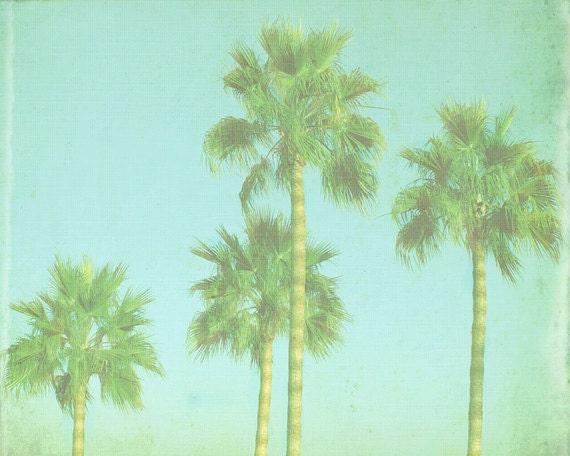 VIntage Palm Tree Beach Print - Blue Green Retro Tropical Ocean Beach House Photograph