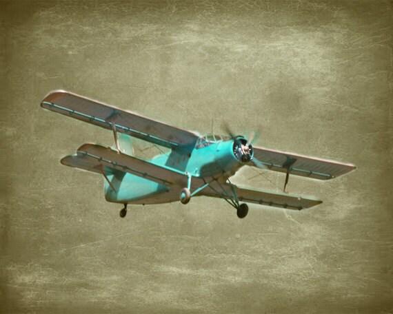 Vintage Airplane Art Print Aqua Gray Neutral Sepia Nursery