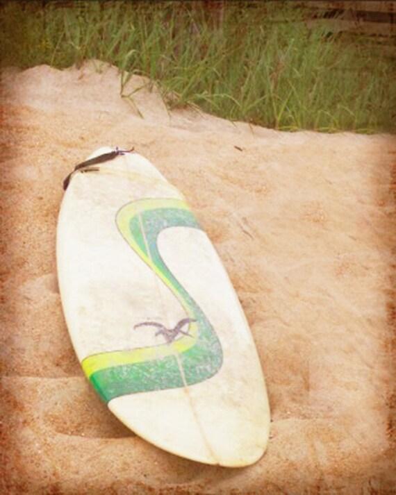 Retro Surf Beach Art Print - Surfboard White Sand Surfing Ocean Beach House Wall Art Home Decor Photograph