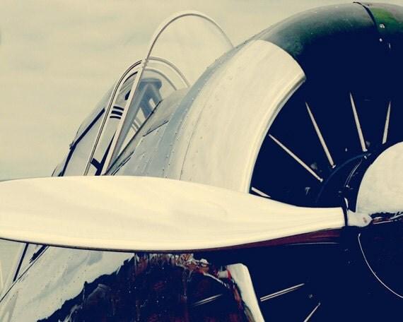 Antique Airplane Propeller Print - Nursery Childrens Room Aviation Flying Home Decor Black White Silver Photo