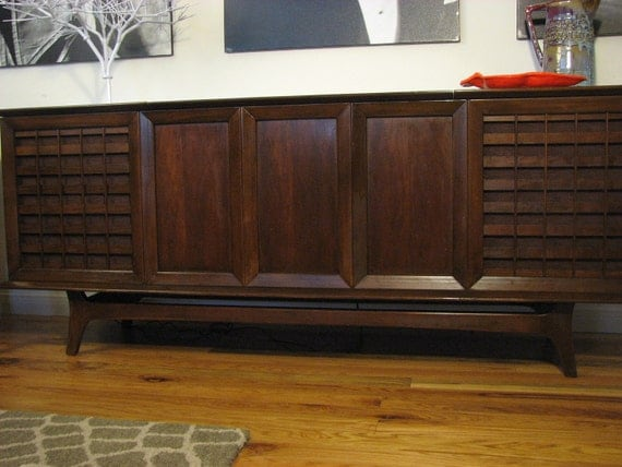RESERVED Mid Century Credenza Side Board Record by rosewoodmodern