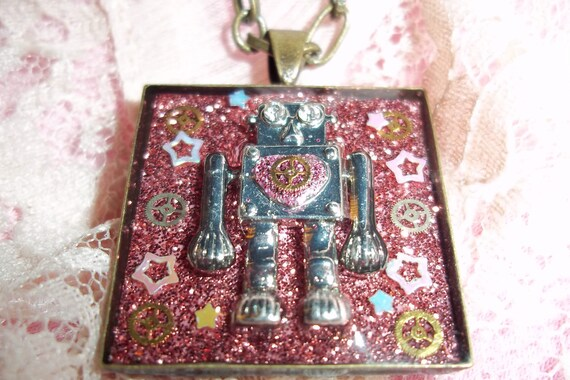"""The Day the Earth Stood Still Pink Galaxy Robot """"Gort """" Steampunk Robot Necklace"""