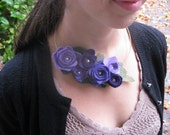 Handmade felt flower and leaf necklace on wire necklace base