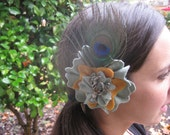 Handmade felt flower hair accessory with peacock feather and recycled vintage jewelry embellishment