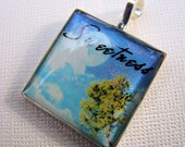 Resin Pendant, Sweetness, Tree, Sky, Clouds, 1 inch, Square, Blue, Green, White, For Her, Whimiscal