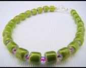 Bracelet, Green and Purple, Glass Beads, Seed Beads, For Her, Casual