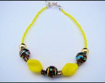 Beaded Yellow Bracelet, Seed Beads, Multicolored, For Her