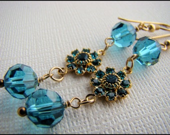 Dangle Earrings in Blue Crystals