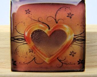 Resin Pendant, Tattoo Heart, Orange, Brown, Black, 1 Inch, For Her, Square