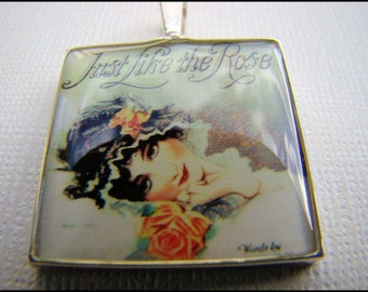 Resin Pendant, Vintage Album Cover, Just like the Rose