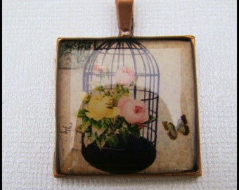 Resin Pendant, Birdcage, Butterfly, Flowers, Yellow, Black, Beige, 1 inch, Square