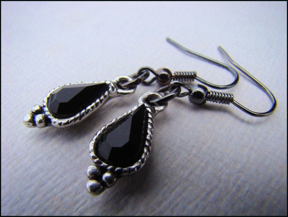 Dangle Earrings, Goth Style, Black, For Her