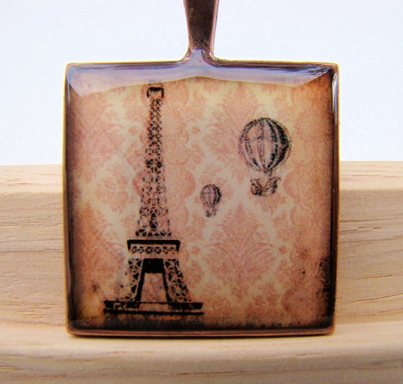 Resin Pendant, Eiffel Tower with Hot Air Balloons,Red-Orange, Black, 1 inch, Square