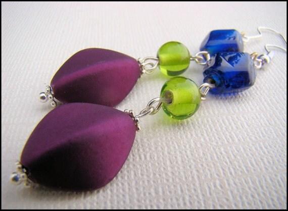 Earrings, Dangle, in Purple, Green and Blue