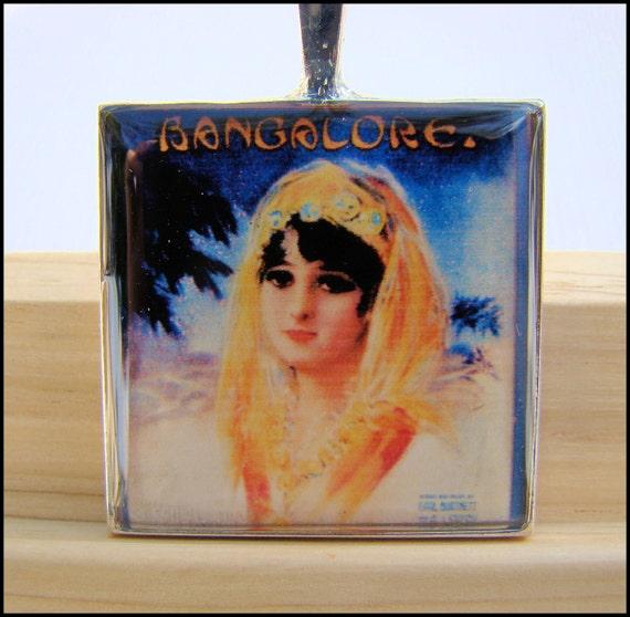 Resin Pendant, Vintage Album Cover, Bangalore, Orange, Blue, Black, PInk, 1 Inch, Square, For Her