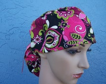 Ponytail Surgical Scrub Cap - Bouquet Beauties - Ribbon Candy Blooms - Black