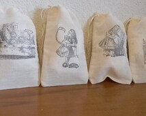 Set of 20 Hand stamped Alice In Wonderland Party Favor Muslin Bags 100% organic made in america