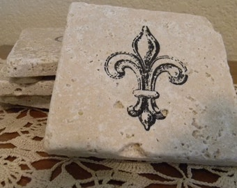 Set of 4 Fleur Di lis Tumbled Marble Coasters