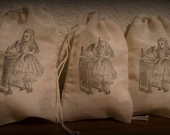 Set Of 10 Hand stamped Drink Me Alice In Wonderland Favor Bags 100% organic made in america