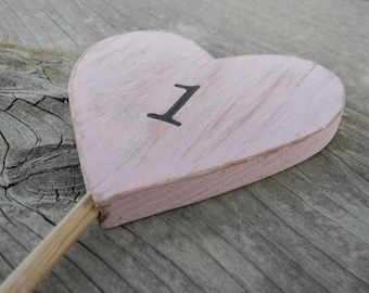 Pink Rustic  Wedding Party Table Number Hearts