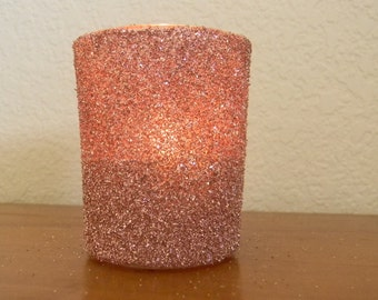Rose Pink German Glitter Glass Wedding Romantic Sprakle Votive Candle Holder