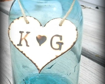 Custom Wood Hot Stamped Rustic Heart Tags Wedding Decoration