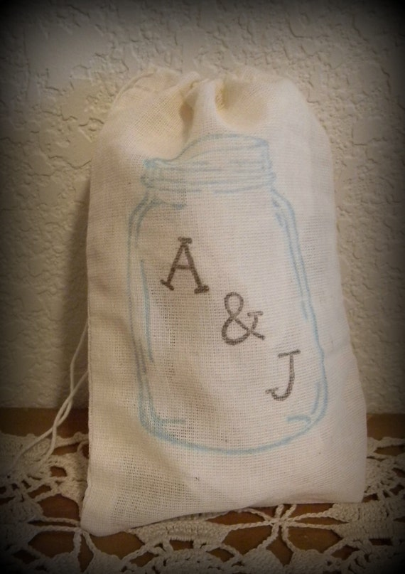 Set Of 20 Hand stamped Mason Jar Wedding Party Favor Bags 100% organic made in america