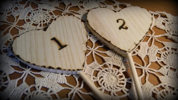 Wood Burn Rustic Wedding Party Table Number Hearts