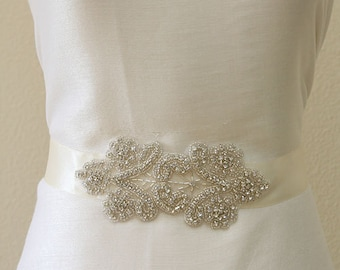 Wedding sash, Bridal sash clear crystal beaded sash, belts, bridesmaid sash