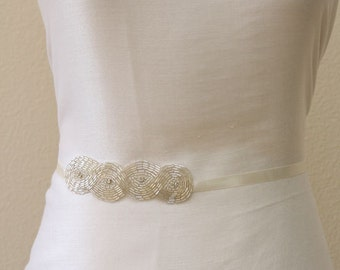 Clear beaded bridal sash, satin tie back sash, bridesmaids sashes