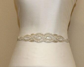 Crystal rhinestone beaded bridal sash, bridal bridesmaid sash with ivory ribbon tie back