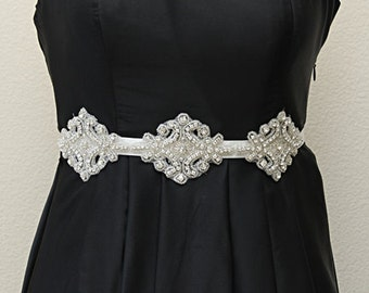 Wedding belt bridal sash, wedding dress sash, rhinestone beaded bridal sash, crystal beaded sash