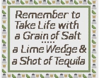 Grain of Salt Lime Tequila - Cross Stitch Sampler Instant Download PDF Pattern