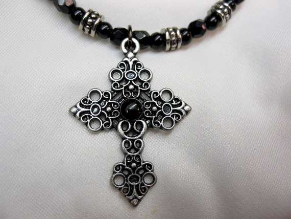 Dramatic Antique Silver Cross on Beautiful Antique Silver and Black Beaded 15 plus Inch Choker with Magnetic Clasp