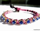 arm Party Leather and Rhinestone Bracelet Thread Wrap Friendship Bracelet