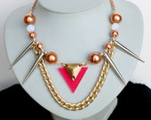 Tisha, Spikes necklace, rosegold beads and chains, real moonstones with triangles in metal and neon pink by Nutcase Luxe
