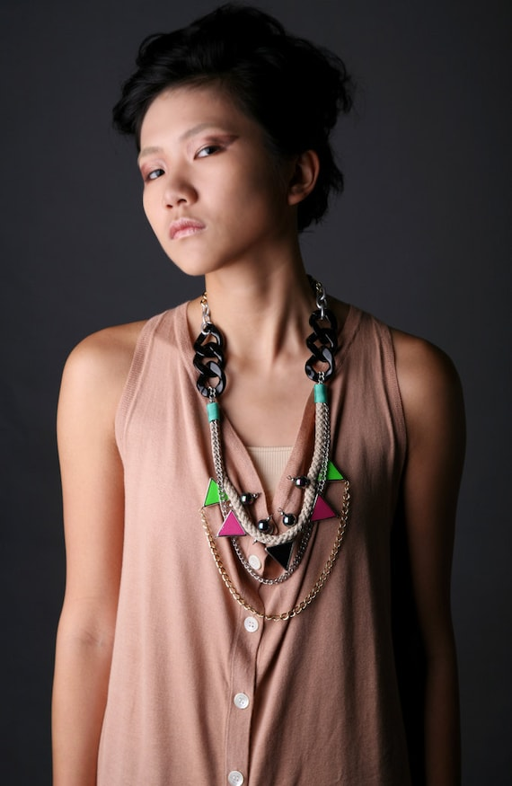 Walukar, neon tribal necklace with rope, triangles and layering chains- NEON TOXICS SS2012