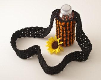 SALE Water Bottle Sling, Black and Orange Striped - Extra Long