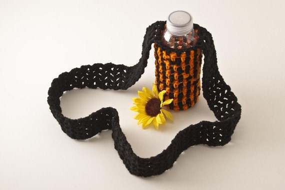 SALE Water Bottle Sling, Black and Orange Striped - Extra Long