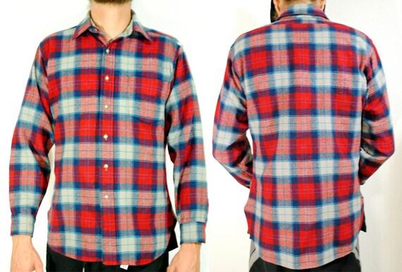 Mens Vintage Red Plaid Pendleton Flannel- Size M