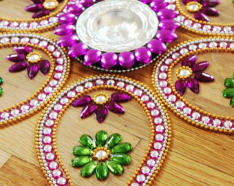 Big/ Small Pan Rangoli, floor art -  Purple - set of 7 pieces - Diwali decor, Kolam, Ready to use art, House warming decor, Indian wedding