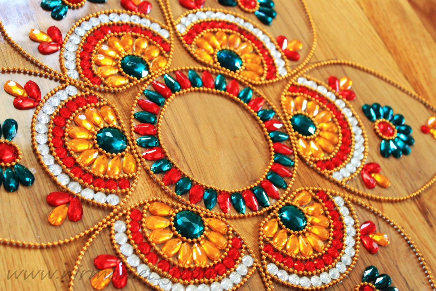 Indian wedding beaded floral table decor rangoli floor art for Floor rangoli design