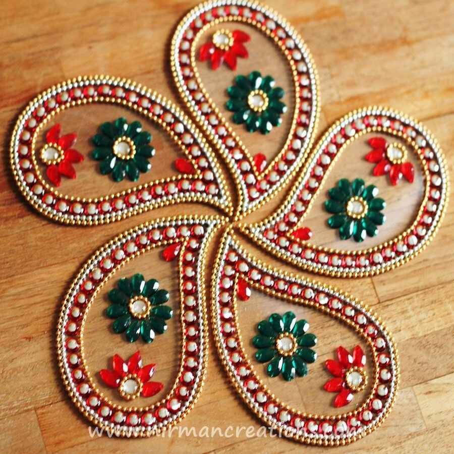 Rangoli floor art ulta pan red set of 7 pieces for Floor rangoli design