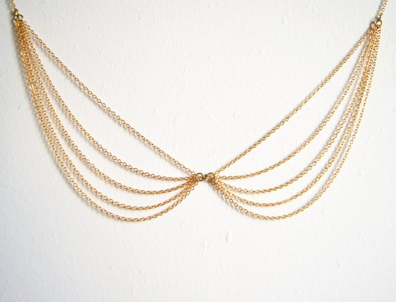 Layered Peter Pan Collar Necklace - Gold Plated Multi Chain - Formal Party - Bridal - Bridesmaid